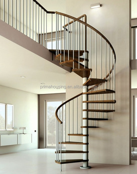 Spiral Staircase With Wooden Tread And Galvanized Painted Carbon Steel  Center Post U0026 Handrail
