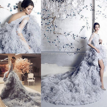 Nw1154 Hot Luxury Customize Ostrich Feather Wedding Dresses Backless ...