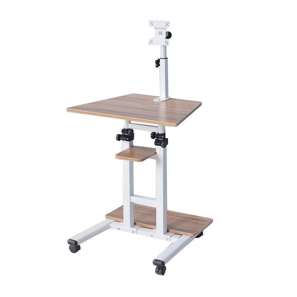 Get Quotations Soges Adjule Mobile Standing Desk Stand Up Computer Workstation On Wheels Moving