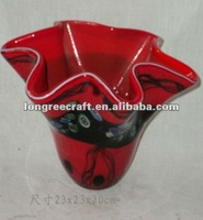 Cabbage Shaped Vase Red Chinese Art Glass
