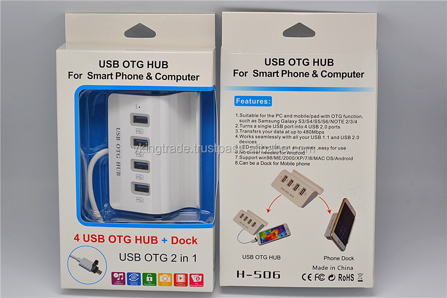 Vking Phone Holder 2 In 1 4 Port USB OTG Micro USB 2.0 USB HUB for Smartphone and PC