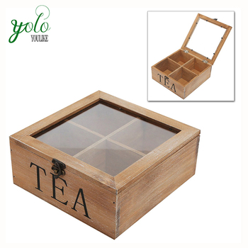 Hot Sale Wooden Square Chinese Tea Bag Gift Packaging Box With 4 Compartments,Multi-Function Organizer