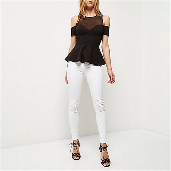 28735fabe26 Black mesh cut out shoulder peplum top ladies semi formal office fashion top