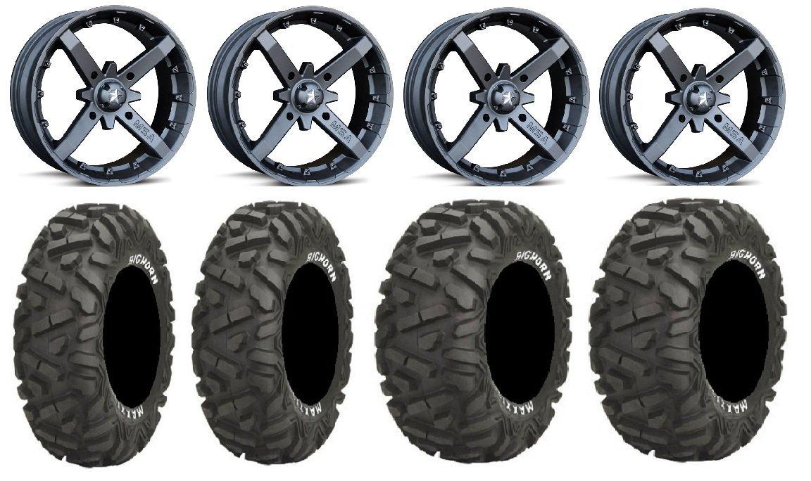 "Bundle - 9 items: MSA Black Battle 12"" ATV Wheels 26"" BigHorn Tires"