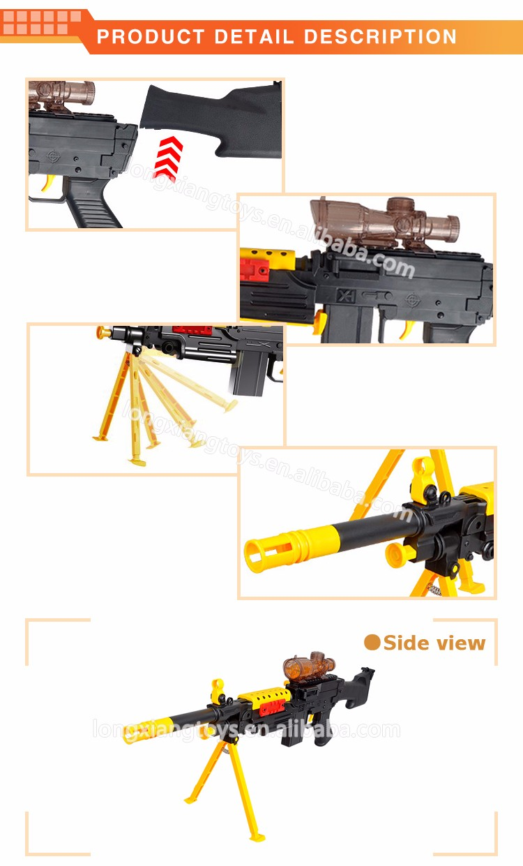 Kids gift wholesale machine gun water and soft bullet gun toy with shooting equipment