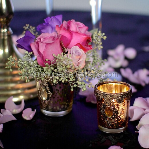 vintage gold embellished tealight candle holders glass jars wood lid