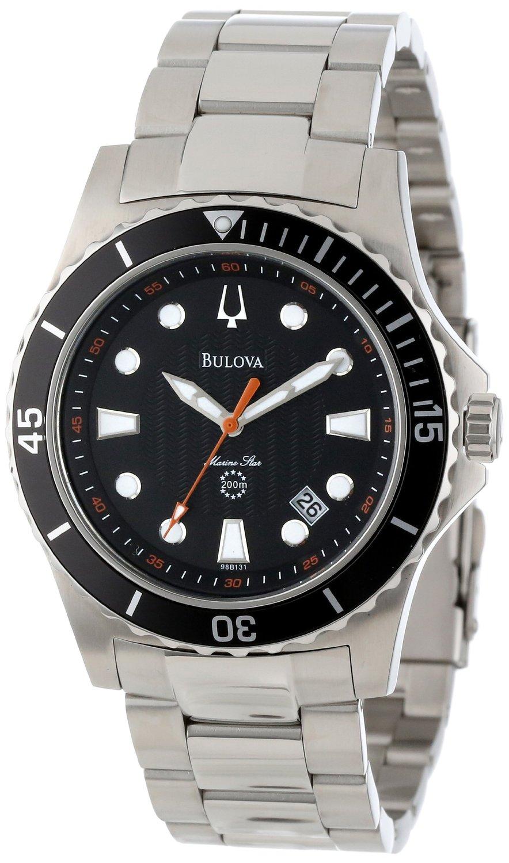0d557ec9c Get Quotations · Bulova Men's 98B131 Marine Star Black Dial Bracelet Watch