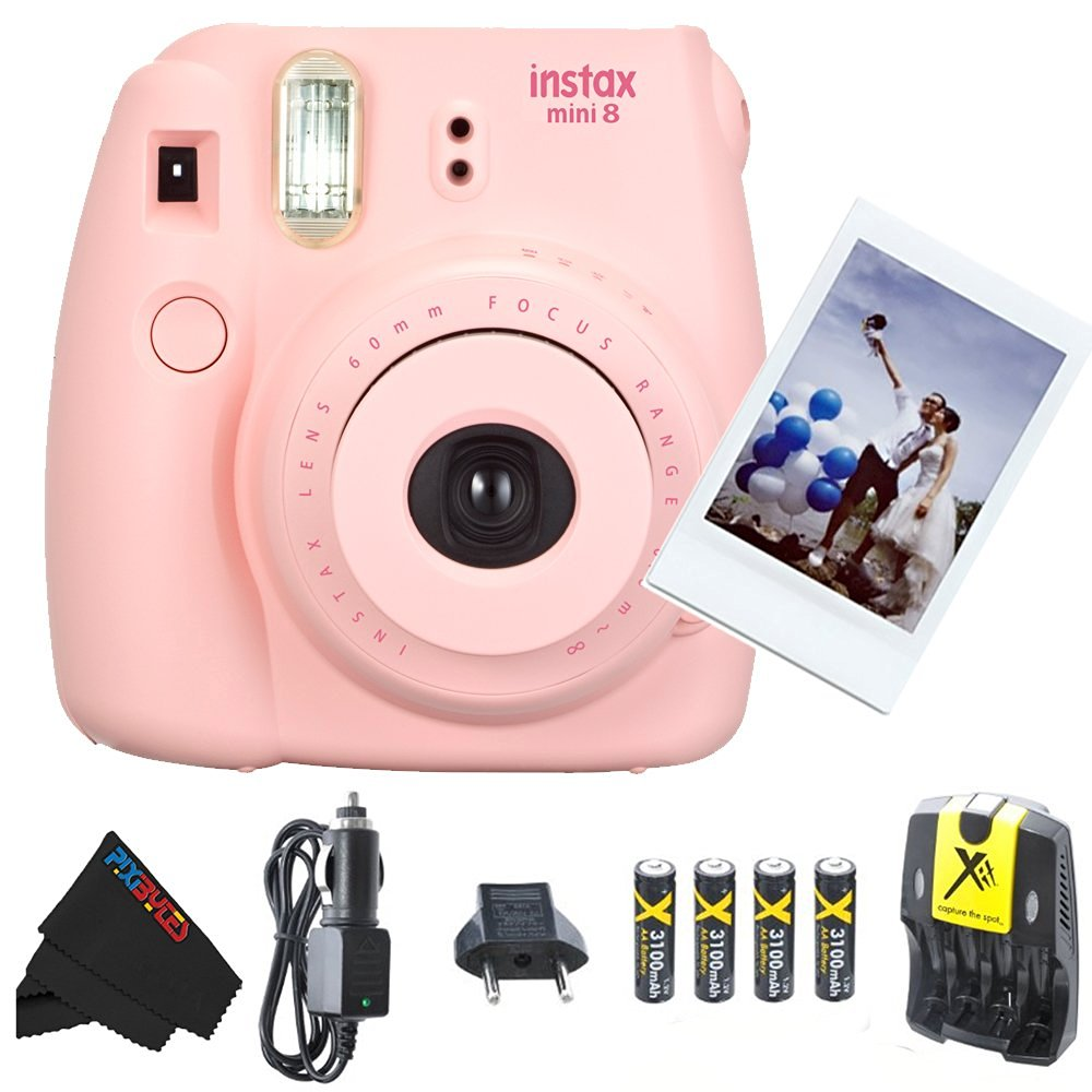 Fujifilm Instax Mini 8 Instant Film Camera (Pink) + 4 AA Ultra High Capacity 3100mah Rechargeable Batteries with AC/DC Travel Turbo Quick Charger + PixiBytes Exclusive Cleaning Cloth