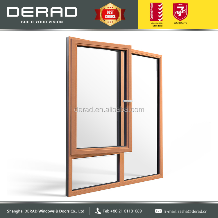 Residential Wood-Aluminium Tilt&Turn Window with blind curtains