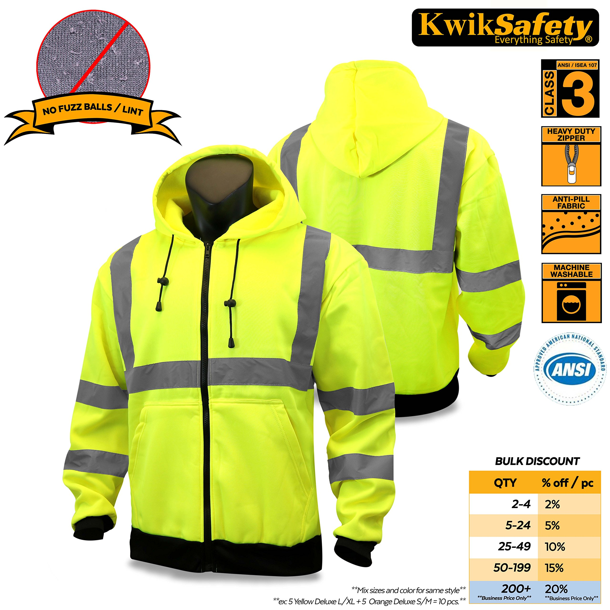 ccc411c86c4 Get Quotations · KwikSafety Class 3 High Visibility Safety Jacket ANSI  Reflective Soft Shell Jacket with Detachable Hood and