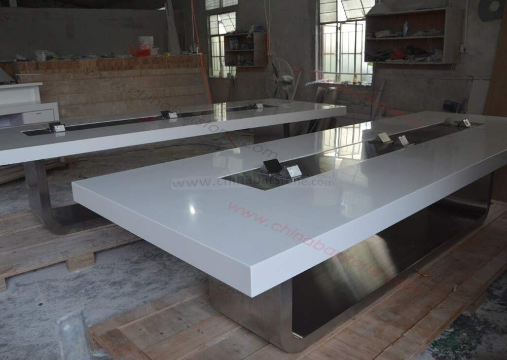 White Lacquer Wood Office Furniture Large Meeting Conference Table Product