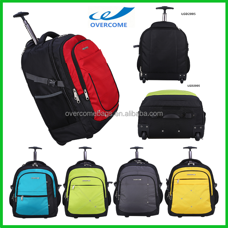 Waterproof trolley travel backpack with detachable wheels