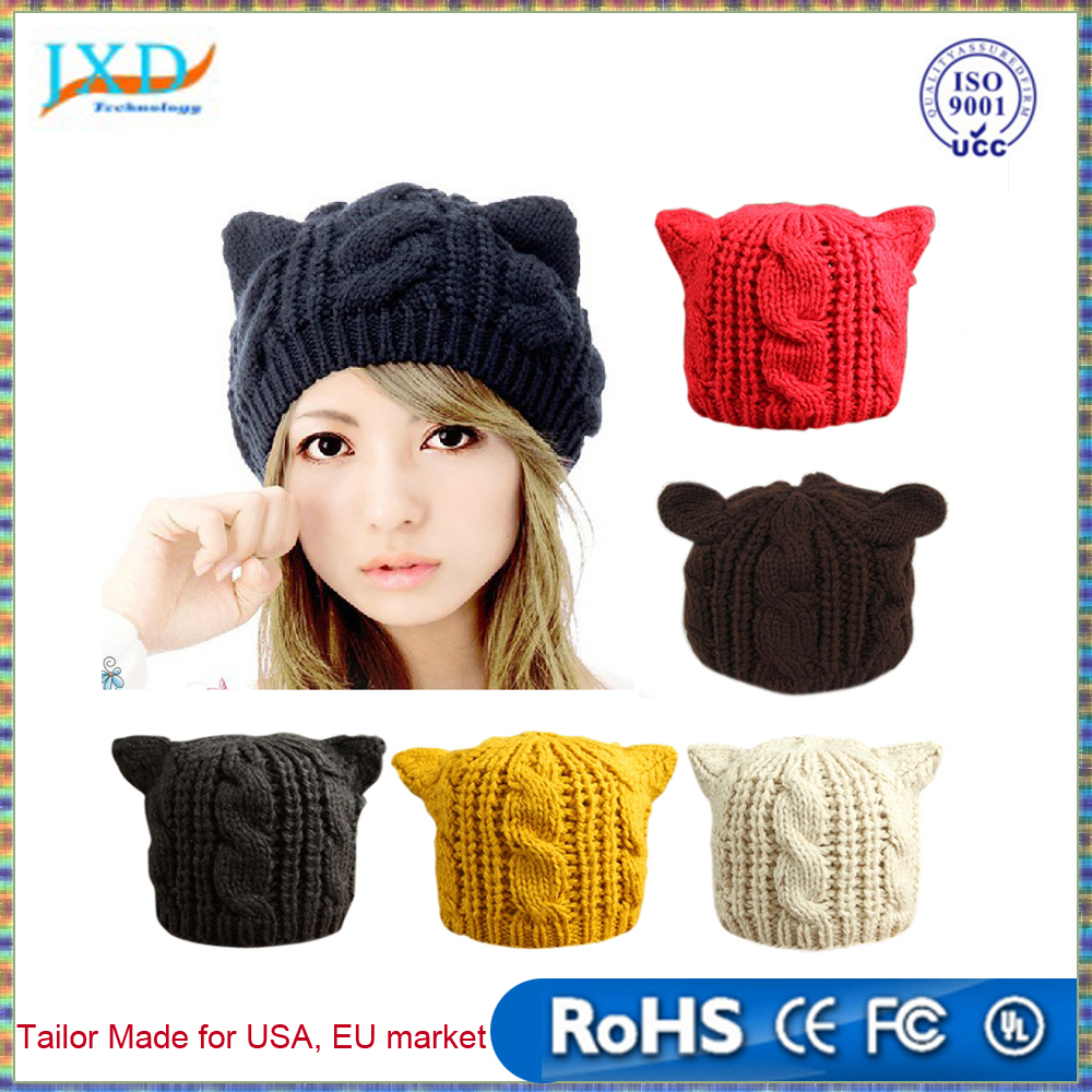 Fashion Lady Girls Winter Warm Knitting Wool Cat Ear Beanie Ski Hat Cap