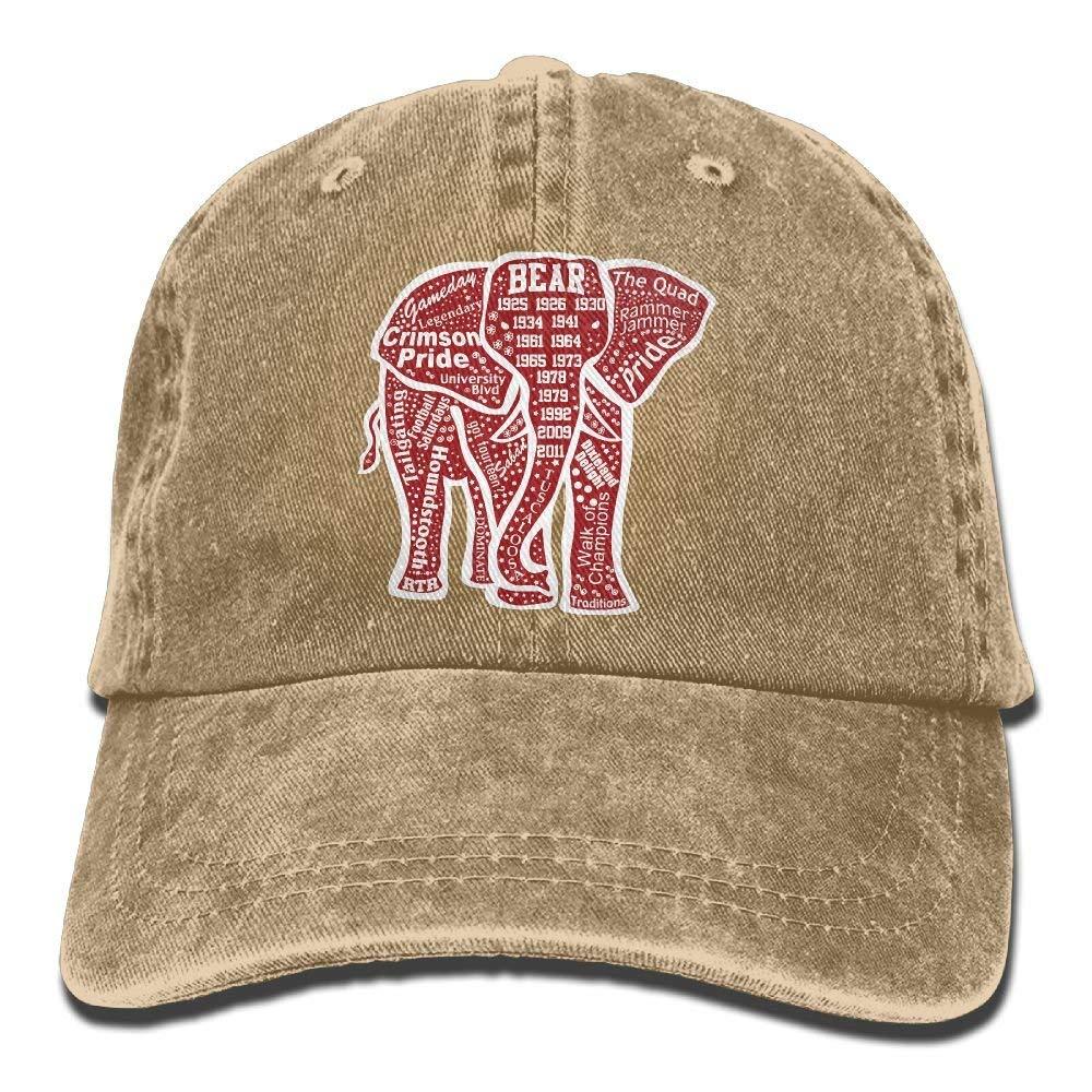 Get Quotations · Adjustable Cowboy Style Baseball Cap Hat Alabama Red  Elephant Unisex Vintage Washed Dyed Cotton Plain Cowboy 02716bfa3131