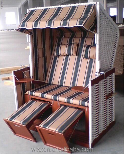 Kd Wooden Frame Beach Chair Rattan Basket Wicker Garden