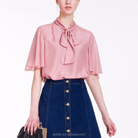 new arrival early autumn short sleeve real silk pink blouse and tops for women