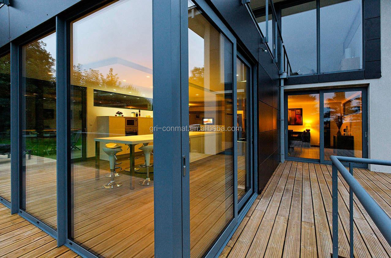 Large aluminum and glass folding sliding door
