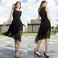 Dongguan Factory OEM Long Dress Black slim fit optional size sleeveless flouncing Charming Midi Dresses