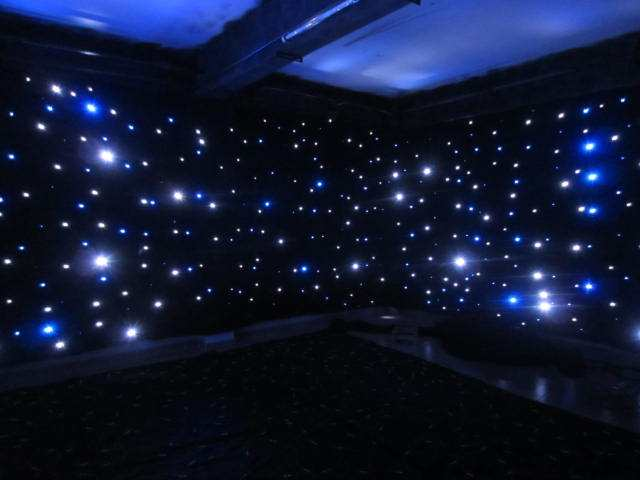 4*6M Twinkling Wedding Party Backdrop Stage Decoration BW Star Curtain