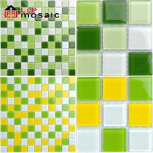 Hot sale green crystal glass mosaic tile for bathroom,kitchen,interior wall