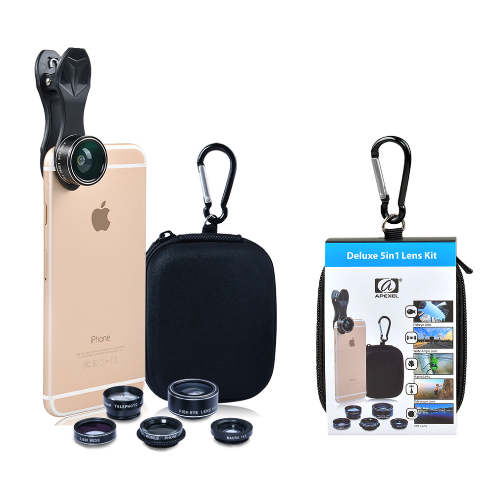 Apexel top selling Mobiele Telefoon mobiele telefoon Camera Lens 5 In 1 lens Kit Voor HUAWEI iPhone Samsung