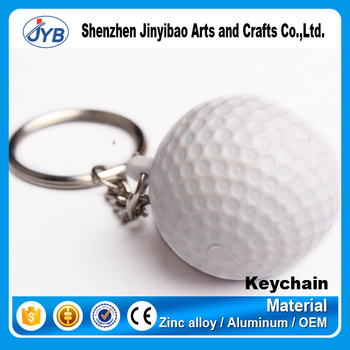 New Design Hot Sale Golf Ball Shape Keychain 3d Type Plastic Ball Keyring