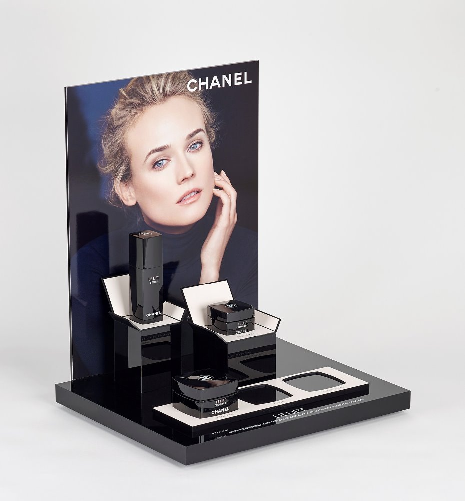 Table top acrilico di trucco banco di mostra cosmetico prodotto display stand