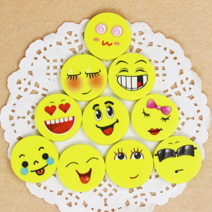 YiWu Factory Hotsale Emoji Smiling Face Shaped Rubber Eraser