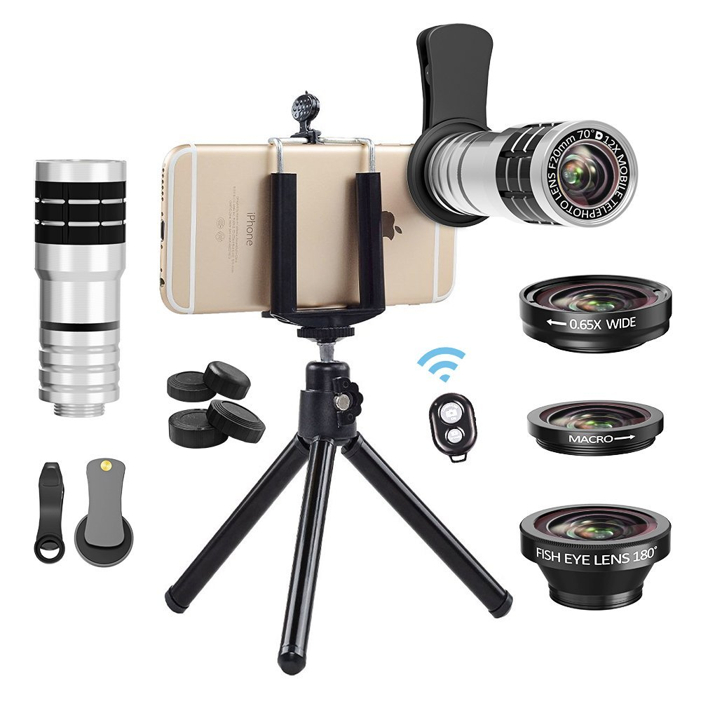 Vorida Cell Phone Camera Lens 4 in 1 Telephoto Lens Kit, 12X Telephoto Lens+180° Fisheye Lens+0.65X Wide Angle Lens+15X Macro Lens+Remote Shutter+Tripod Compatible for iPhoneX 8 7 6s Plus SAMSUNG etc.