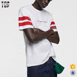 ae4d130108d Wholesale custom cheap clothing men white stipe custom logo print t-shirt