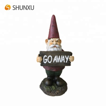 Cheap Garden Yard Defender Gnome With Warning Board Decoration