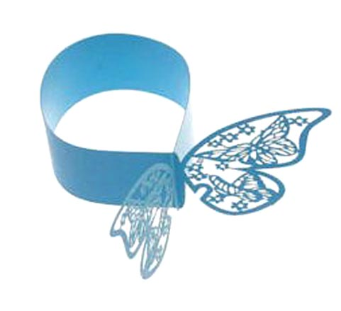 MJQ1 Party Decorations, Laser cut Napkin binding rings with butterfly lace like belt