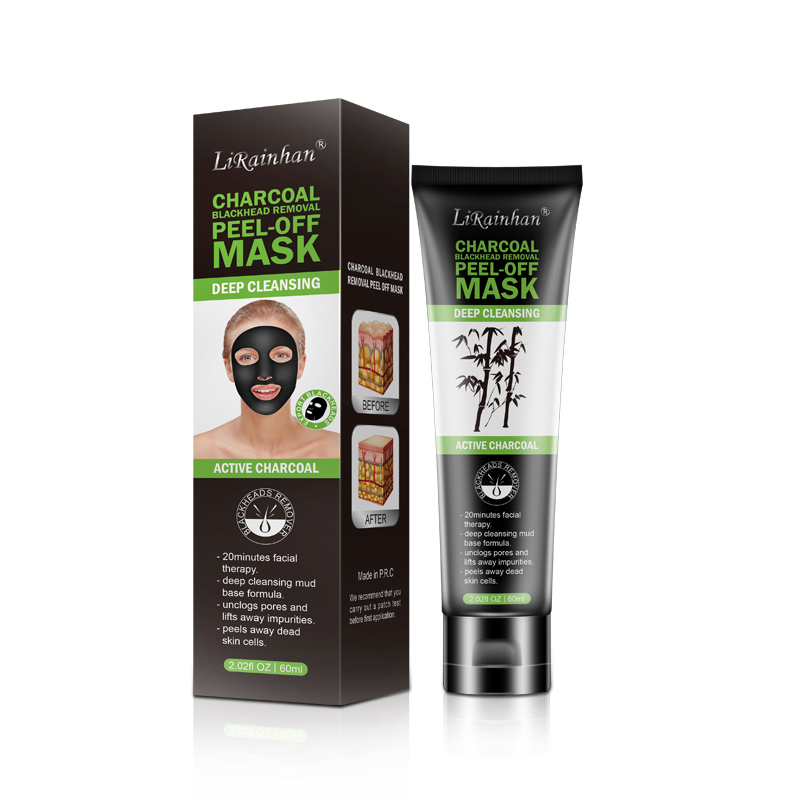 Amazon vente chaude charbon de bois d'aspiration masque peel off Points Noirs du visage masque noir Masque Peel off