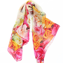 Chinese factory price digital printed silk chiffon long Scarf with top quality