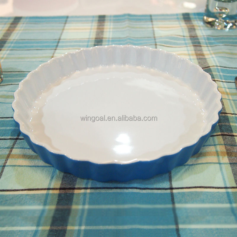 Hot sell round ceramic baking pie plate