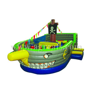 Realizable quality inflatable obstacle game pirate boat kids paradise cartoon inflatable bouncer with low price sale G5031