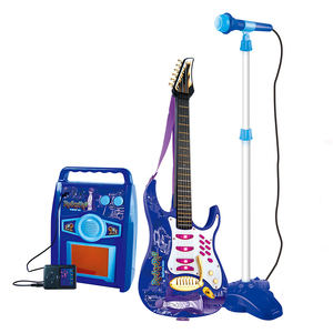 Kids musical instrument electric toy guitar set with loudspeaker box and microphone