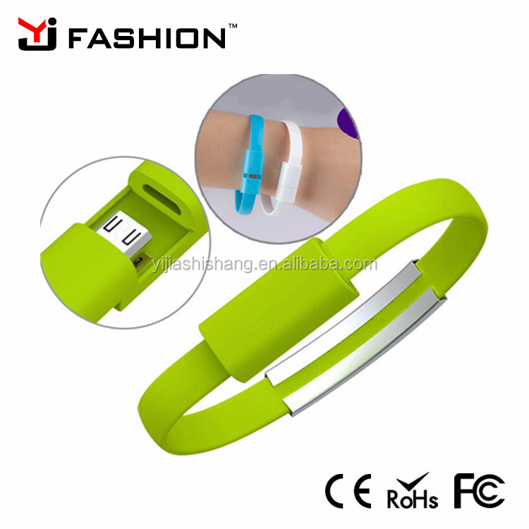 Wholesale Colorful bracelet usb charger cable wristband charger for iphone android Moblie phone