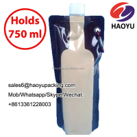 Reusable Foldable Flexible portable stand up plastic packaging bottle shaped Wine Bag for Wine to Go 750ml