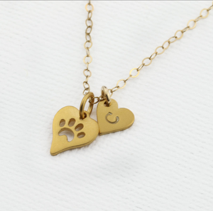 Personalized Dog Paw Print Necklace Gold Heart Initial Charm Necklaces Monogrammed Pet Loss Jewelry