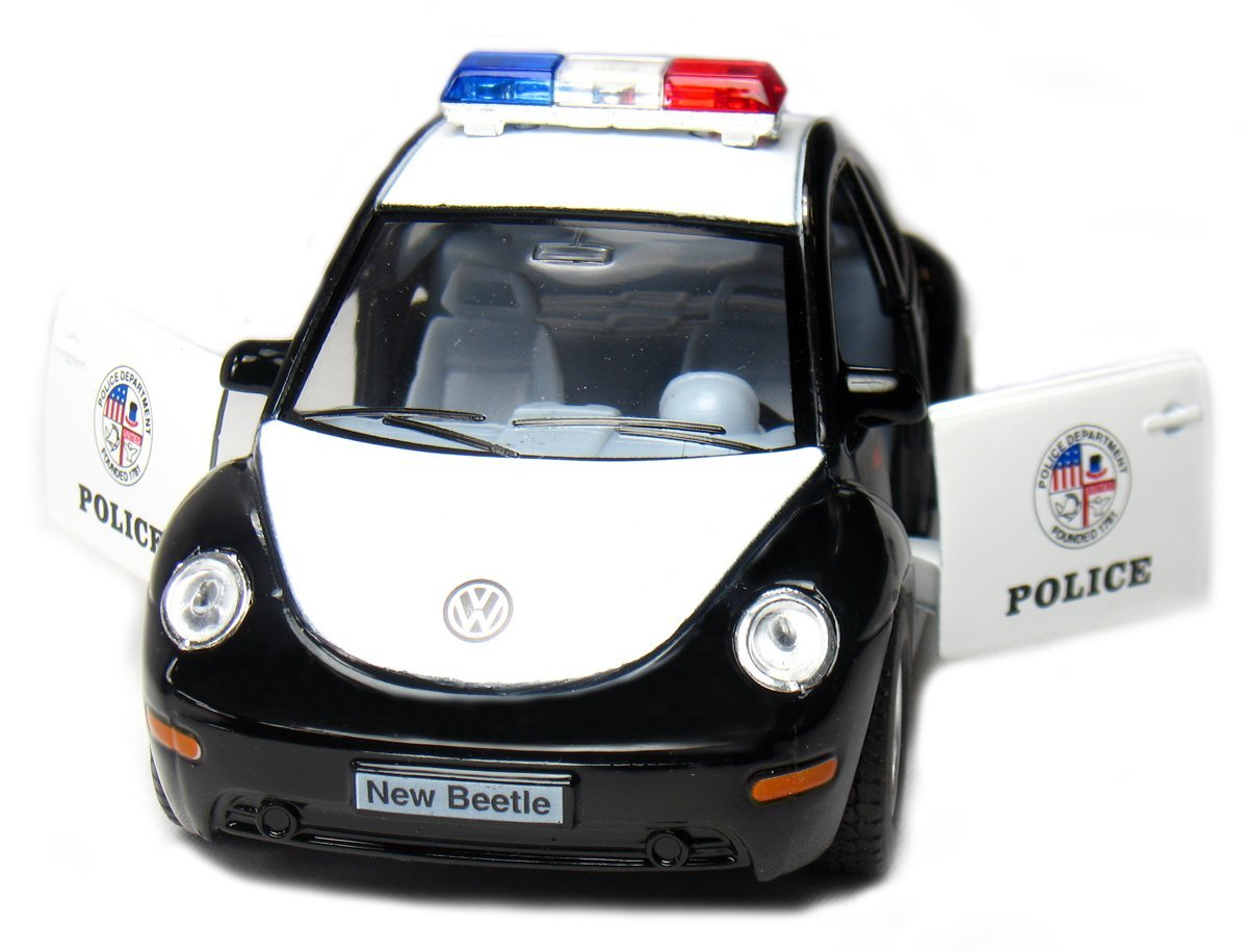 Diecast Cars-Set of 12 Cars: 5 inches VW Beetle Police Car 1/32 Scale , pull back action