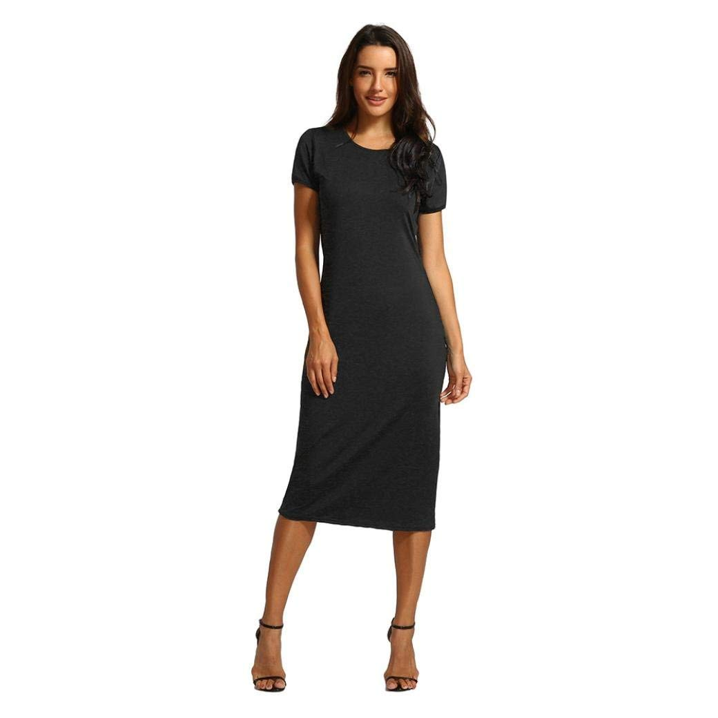 295ee3f68348f1 Get Quotations · OldSch001® Ladies Dress Causal Black Short O-Collar  Mid-Calf Straight Dress
