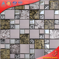 HTJ13 India Design Gold Foil Tile Crystal Glass Mosaic For Wall Decoration