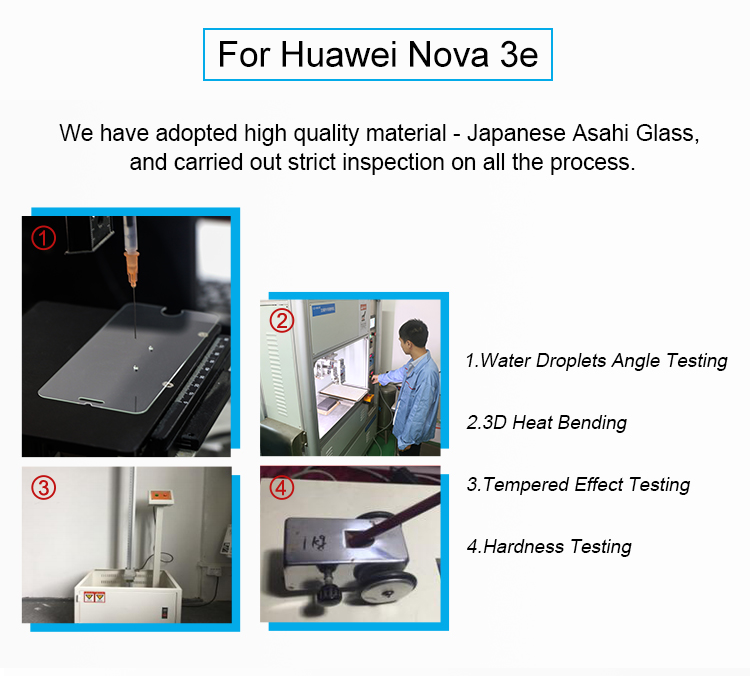 Factory Price 3D Tempered Glass Screen Protector For Huawei Nova 3e P20 Lite