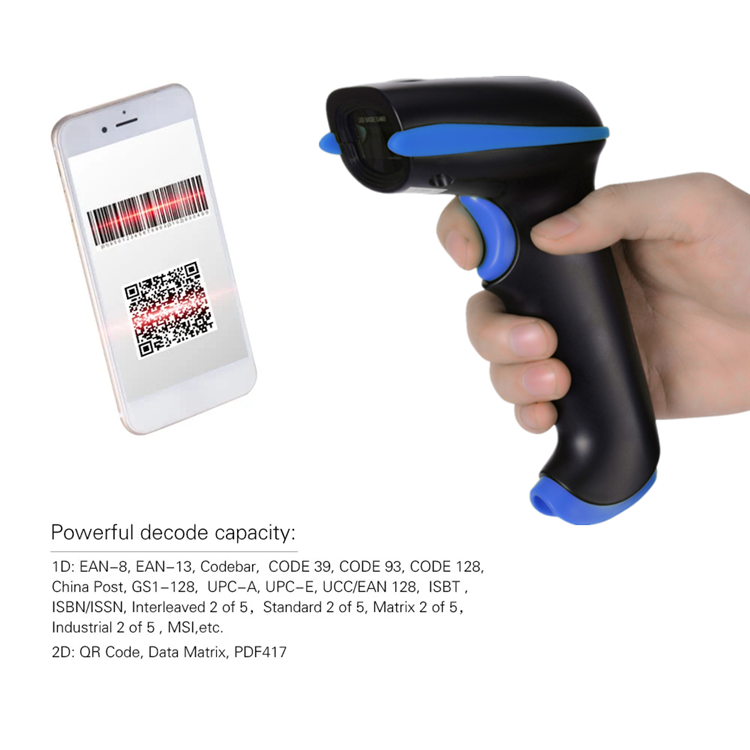 2D Bluetooth Barcode Scanner QR Code Wireless Reader Support Mobile Phone Mac For Supermarket Pharmacy Retail Shop
