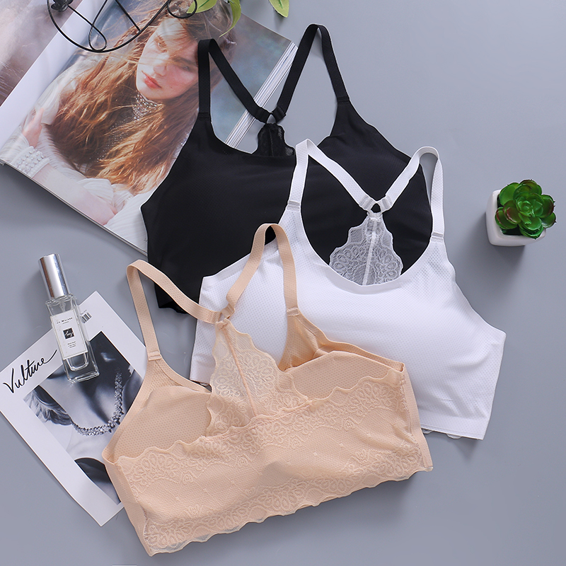 ice silk lace summer thin section type wrapped chest bottoming bra  girl  anti-looming vest