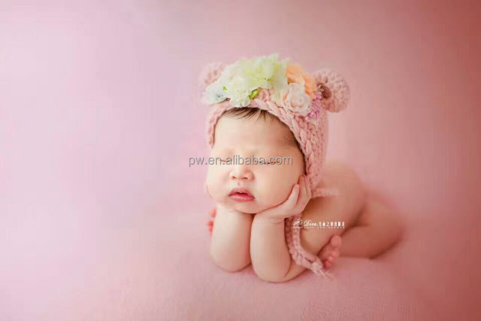 Newborn Knit Bonnet Pink Baby Girl Bear Hat Corchet Baby Beanie Bonnet Photography Props