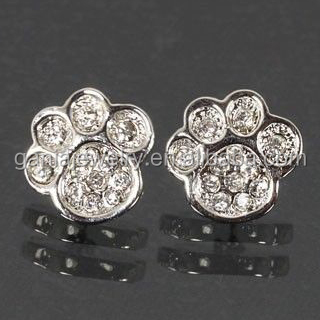 Rhinestone Paw Print Jewelry, Rhinestone Crystal Paw Print Earrings