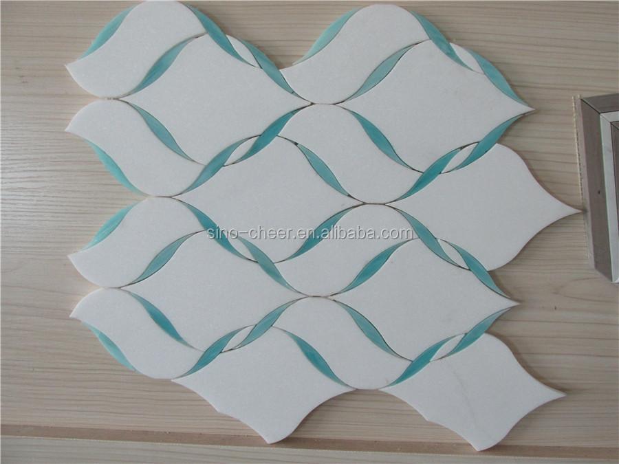 Groene Mozaiek Tegels : Thassos wit marmer mix kleur groen blad glas lantaarns mozaïek
