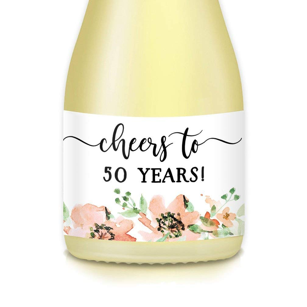 HAPPY 50th BIRTHDAY Ladies Gift & Party Ideas, Decorations, Mini Champagne & Wine Bottle Labels, Cheers to 50 Years! 20 Count Decals, Mom, Wife, Sister, Friend, Coworker Celebrate Her Fiftieth!